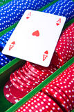 Poker chips with ace. Colorful poker chips with ace card stock photography