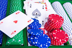 Poker chips with ace Royalty Free Stock Photos