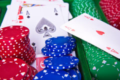 Poker chips with ace Stock Images