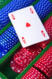 Poker chips with ace. Colorful poker chips with ace card stock images