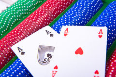 Poker chips with ace Royalty Free Stock Photo