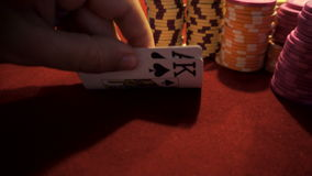 Poker chips and ace/king. Poker chips and ace and king. Fortune and luck in gambling stock video footage