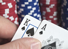 Poker chips - ace and king playing cards Stock Image
