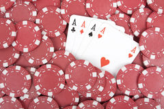 Poker chips with for aces Royalty Free Stock Images