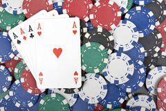 Poker chips with for aces Stock Images