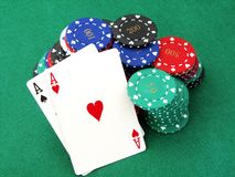 Poker chips & aces Royalty Free Stock Photo