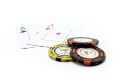 Poker chips with aces cards Royalty Free Stock Photos