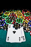 Poker chips with AK Stock Photo