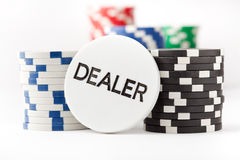 Free Poker Chips And Dealer Button Royalty Free Stock Image - 16934496