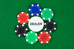 Poker chips arranged in a circle royalty free stock photos