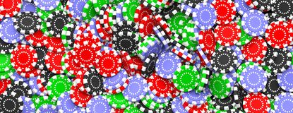 Poker chips background, banner, top view. 3d illustration royalty free illustration