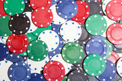 Poker chips background. Poker setting background with chips Stock Images