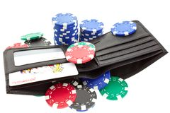 Poker chips in black leather purse Stock Photo