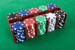 Poker chips in a box Stock Image