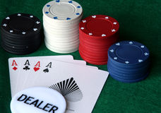 Poker chips with cards royalty free stock images