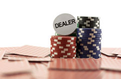 Poker chips on the cards Stock Image