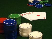 Poker chips and cards. With focus on cards Royalty Free Stock Photos