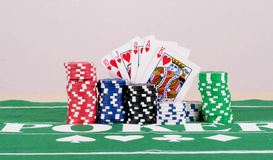 Poker Chips With Cards Royalty Free Stock Photos