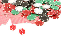 Poker chips and cards Stock Photo