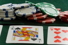 Poker Chips and Cards Royalty Free Stock Photography