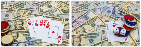 Poker chips cards cash gamble Royalty Free Stock Images