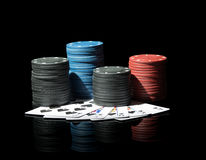 Poker chips with cards Royalty Free Stock Image