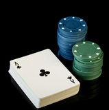 Poker chips with cards Stock Images