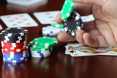 Poker chips Cards stock images