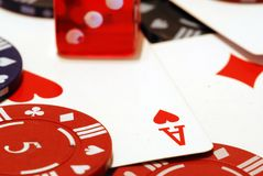 Poker Chips Cards and Dice Background Royalty Free Stock Photos