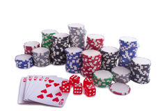 Poker chips with cards and dices Stock Images