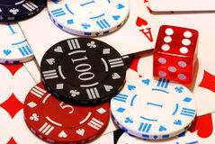 Poker chips, cards & die royalty free stock images