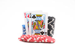 Poker chips with cards Royalty Free Stock Photography