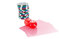 Poker chips, cards and red dice cubes isolated Stock Image
