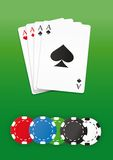 Poker chips and cards set Royalty Free Stock Images