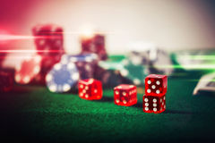 Poker Chips in casino gamble green table. Poker Chips in casino gamble green table close up royalty free stock photography