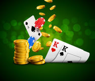 Poker chips casino green poster. Gamble cards and coins success winner royal casino. Background Royalty Free Stock Photography