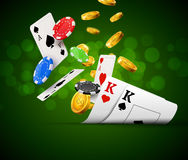 Poker chips casino green poster. Gamble cards and coins success winner royal casino background.  Stock Image
