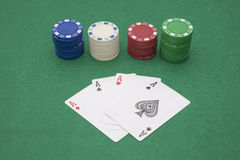 Poker and chips Stock Photos