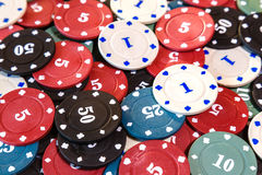Poker chips on casino table close up Stock Image
