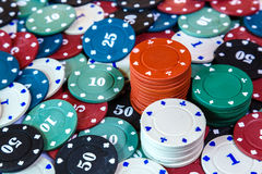 Poker chips on casino table close up Stock Photo