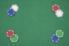 Poker chips on casino table Royalty Free Stock Photography