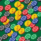 Poker Chips and Coins Seamless Pattern Stock Images