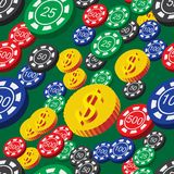 Poker Chips and Coins Seamless Pattern Royalty Free Stock Images