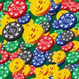 Poker Chips and Coins Seamless Pattern Royalty Free Stock Photo