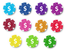 Poker chips collection Stock Photos