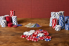 Poker chips and credit cards Stock Photos
