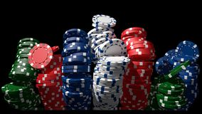 Poker chips. 3D poker chips, black background Royalty Free Stock Photos