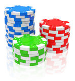 The poker chips. 3d generated picture of three different colored poker chips stacks royalty free illustration