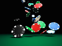 Poker chips. 3d image of classic poker chips and green table vector illustration