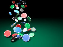 Poker chips. 3d image of classic poker chips and green table royalty free illustration